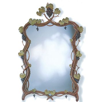 "Hand-Laid Antique Finished Grape Vines Mirror 37.5"" x 56"""