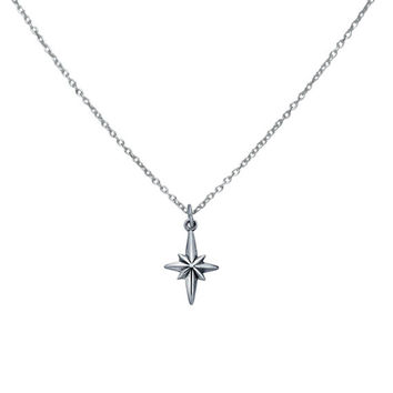 Silver North Star Pendant Necklace, Solid 925 Sterling Silver Jewelry, Direction Compass Charm Necklace, Everyday Necklace