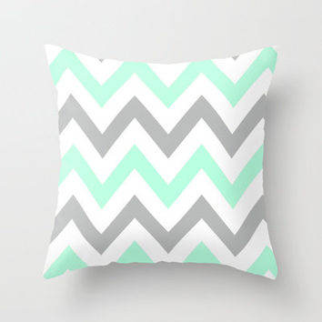 Mint Amp Gray Chevron Throw Pillow By From Society6 Teal 2