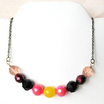 Mod Inspired Colorful Beaded Necklace -Pink Black Yellow Mix - Lovey Sweet