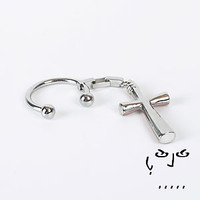 Stainless Steel Key Ring with Cross