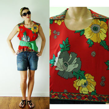 VINTAGE 1960s HAWAIIAN Luau Red & Poppy Flower Tank Top Wide Collar