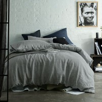 Yarn Dye 100% Linen Quilt Cover Set Stripe Charcoal by Accessorize