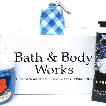 Bath & Body Works Blueberry Hand cream, Pocketbac with Gingham Holder