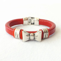 Red Leather Silver Slide Cuff Bracelet Boho Statement Trendy Modern Contemporary Jewelry 2014 Trends Valentine Gift Idea for Her Under 40