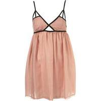 Topshop Blush Pink Babydoll Dress with Contrast Trim, UK 10