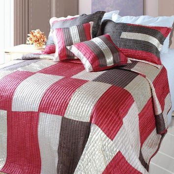 DaDa Bedding Modern Block Satiny Metallic Checkered Red Brown & Gold Bedspread Set (DXJ106211)