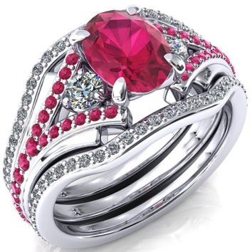 Arietis Oval Ruby Diamond Sides 3/4 Eternity Accent Ruby Ring
