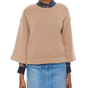3/4-Sleeve Sweater with Braided Detail, Size: