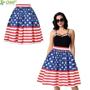 Blue Stars Red Stripes Skirts Womens Pleated Tennis Skirts High Waist American USA Flag Midi Sports Skirt Split A-Line Skirts