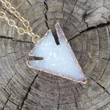 Arrowhead Druzy Necklace 24K Gold White Triangle Quartz Natural Rock Crystal Pendant- Free Shipping OOAK Jewelry