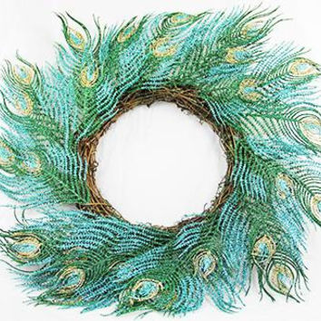 "Artificial Christmas Wreath - 22 ""  - Turquoise"