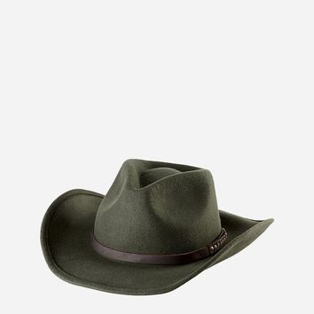 Mens Cowboy Hat With Brown Leather Band (WFH8007OSOLV)