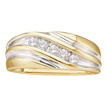 14kt Yellow Two-tone Gold Men's Round Diamond Wedding Anniversary Band Ring 1/4 Cttw - FREE Shipping (US/CAN)