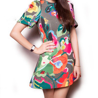 Multicolor Floral Print Puff Sleeves Swing Mini Dress