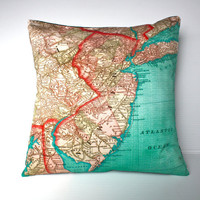 vintage map NEW JERSEY Organic cotton map of by mybeardedpigeon