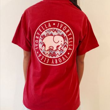 Red Elephant T Shirt with Pockets