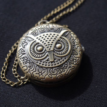 Vintage Owl pocket watch bronze long necklace clock
