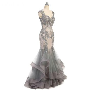 Sweetheart Mermaid Evening Dress Mermaid Dress Long Elegant Prom Dresses Gray Tulle Prom Dress