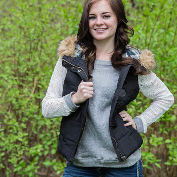 Black Fur and Plaid Lined Hooded Puffer Vest