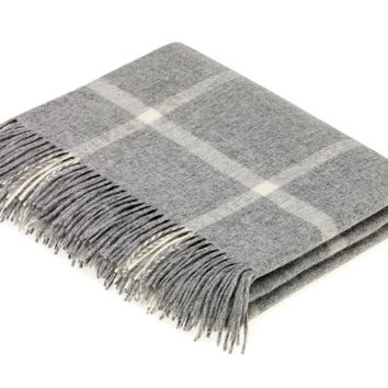 Merino Lambswool Grey Windowpane Throw Blanket