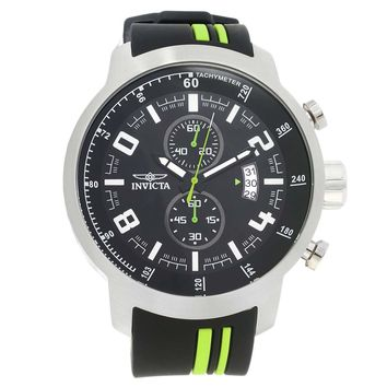 Invicta 20217 Men's S1 Rally Black Dial Black & Green Polyurethane Strap Chronograph Watch