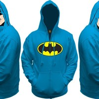 Batman All View Men's Zip Hooded Sweatshirt (Medium/Blue)