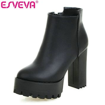 ESVEVA 2017 Black Punk Shoes Women PU Zipper White Autumn Shoes Square High Heel Ankle Boots Women Sexy Fashion Boot Size 34-43