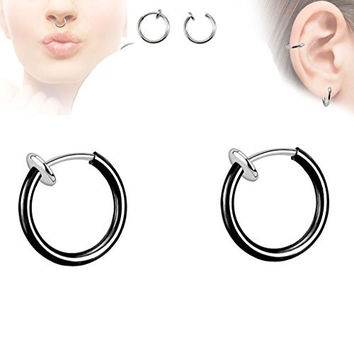 Pair of Black Titanium Ion Color Spring Action Fake Septum Rhodium Plated Brass Rings Ear Cuff F22