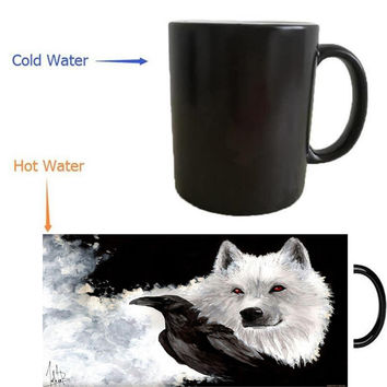 house stark game of thrones mugs heat transfer change color mugen Heat reveal mugs temperature color change  heating mugen