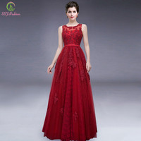 2016 New Wine Red Lace Flower Long Evening Dress Birde Banquet Floor-length Sleeveless Elegant Prom Formal Dress Robe De Soiree