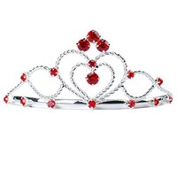 Red Double Hearts Rhinestone Tiara - Tiaras - ACCESSORIES