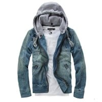 Amtify Men's Denim Jacket with Removable Hood