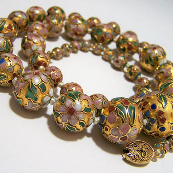Champleve Cloisonne Enamel Bead Necklace, Graduated Floral Beads, Chinese Export Jewelry, Gold With Flower Design 917