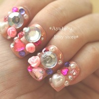 3D nails, rave, race, halloween, Japanese, nail art, lolita, blingy, bejeweled, deco nails