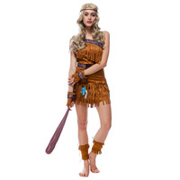 Sexy Women Indian Native Costume Adult Girls Halloween Costume Cosplay Clothing Gypsy Savage Hunter Uniform Costume for Adults