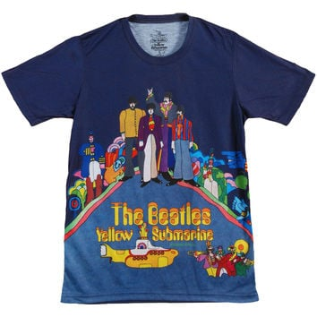 Beatles Men's  Yellow Sub Dye Sublimation T-shirt White