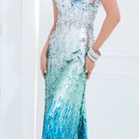 (PRE-ORDER) Tony Bowls 2014 Prom Dresses - Silver & Blue Ombre Sequin Strapless Prom Gown