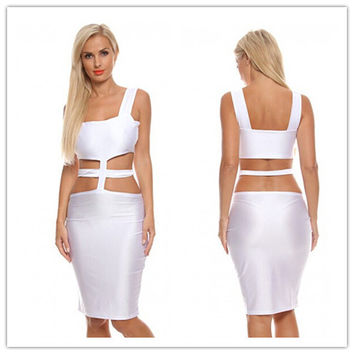 Fashion Female Solid Color  Crisscross Bandage Irregular Hollow Sleeveless Mini Dress