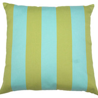 Turks & Caicos Stripe Pillow, Blue/Green, Decorative Pillows