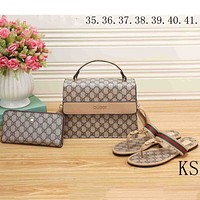 GUCCI 2018 new women's fashion three-piece high-quality handbag clutch bag shoes F-KSPJ-BBDL Bag + khaki shoes (three-piece)