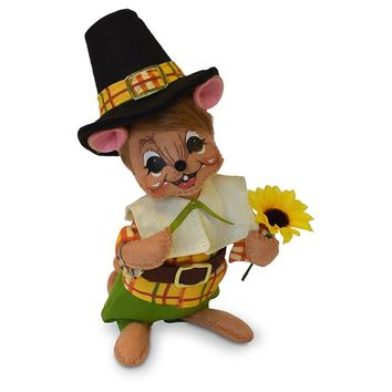 Annalee Dolls 6in 2018 Harvest Thanksgiving Pilgrim Boy Mouse Plush New with Tag
