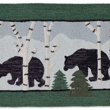 Three Bears in Birch Woods 2' X 4' Hooked Wool Rug