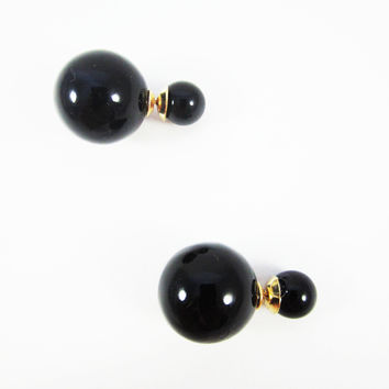Black Double Pearl Earrings