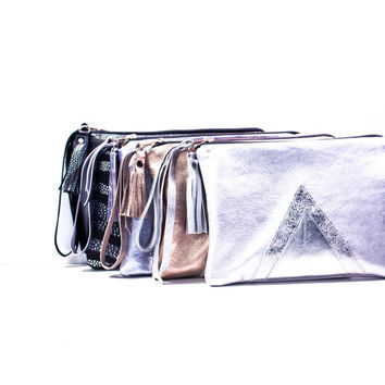 Silver Leather Clutch // Metallic Wristlet // Valentine Day's // Wedding Bag // Bridesmaid // Geometric Art Deco