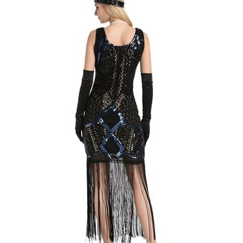DlFASHION Women's Vintage 1920s Gatsby Sequins Embroidery Tassel Flapper Dress Prom Party