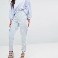 Lost Ink Mom Jeans With Floral Embellishment at asos.com