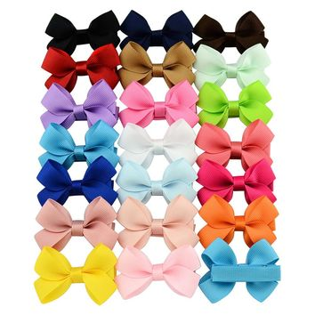 "20 Pcs/Lot Grosgrain 2"" Hair Bow with Covered Alligator Clips for Baby Girl Toddlers Kids Infant Children Handmade Barrettes Hair Accessories"