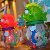 Set of 6 Fish Bowl Party Favor Containers Bubble Guppies Under the Sea