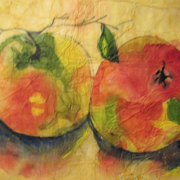 Apple Abstract Painting, Original Watercolor Batik on Rice Paper, Kitchen Art